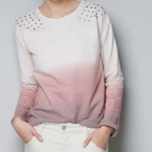 Zara Pink Ombre studded pullover top.